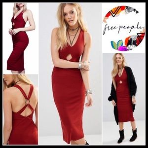 FREE PEOPLE Red Midi Dress Crisscross Back